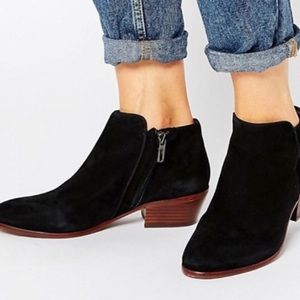 Sam Edelman Black Suede Petty Ankle Boots